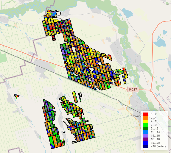 """Visualization of soil maps in the """"Field History"""" cloud service. Sulfur content"""