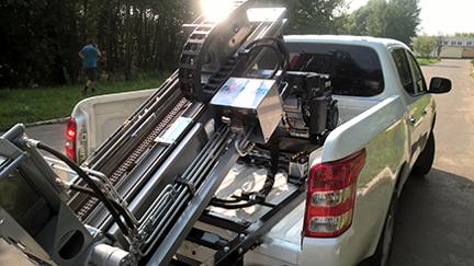 Soil sampler mounted on a pickup truck